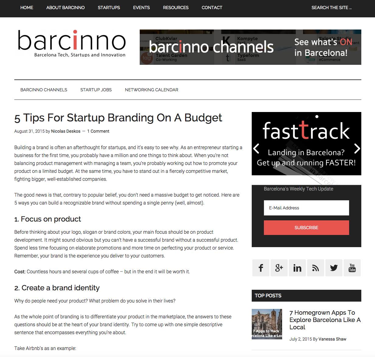 barcinno 5 tips startup branding budget