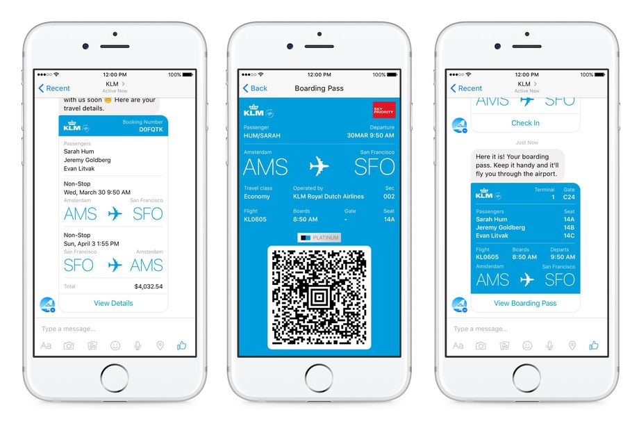 KLM digital boarding pass